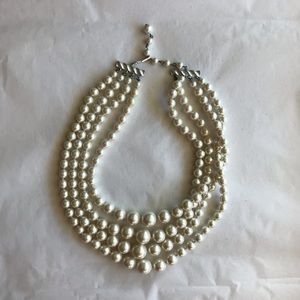 Vintage Faux Pearl Multistrand Necklace